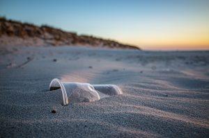 a plastic bottle on the beach