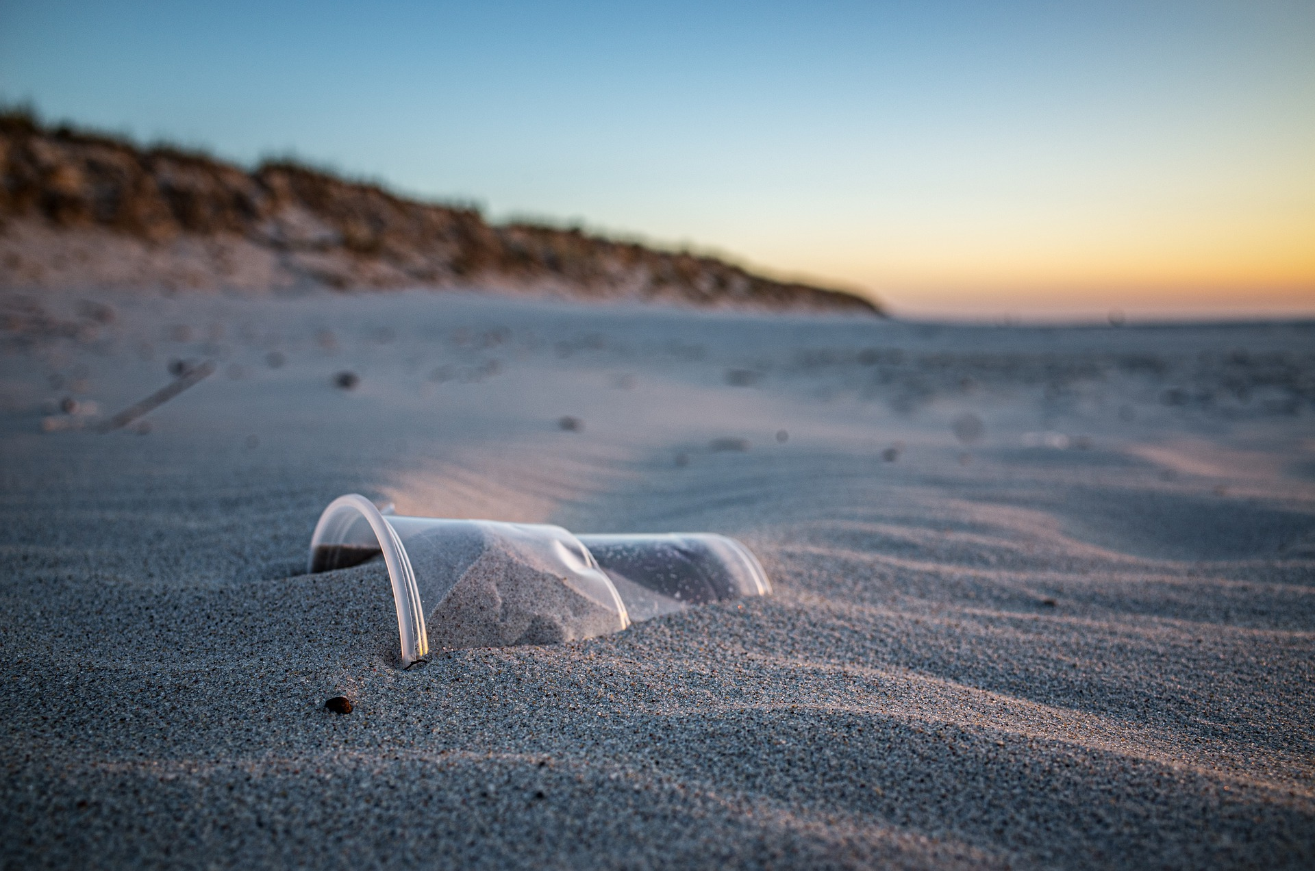 a plastic bottle on the beach